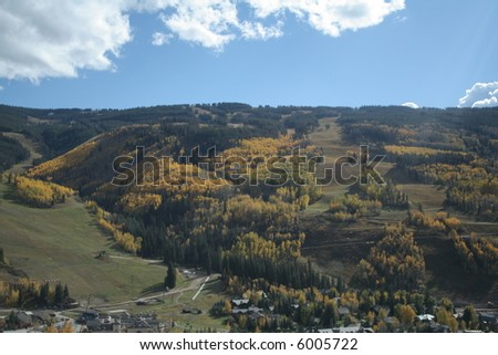 Vail ski area during autumn aspen color change