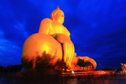 Vaisakha day at Wat Muang, Ang Thong, Thailand. the famous landmark of Buddhist in Thailand on twilight time.