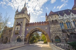 Vajdahunyad Castle, castle contains parts of buildings from various time periods, it displays different architectural styles: Romanesque, Gothic, Renaissance and Baroque.