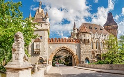 Vajdahunyad Castle entrance gates, vacation and tourism destinations in Budapest and Hungary
