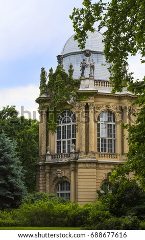 Vajdahunyad Castle (Hungarian-Vajdahunyad vara) is a castle in the City Park of Budapest, Hungary - Shutterstock ID 688677616