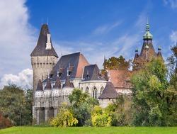 Vajdahunyad castle in Budapest over blue sky