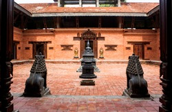 Vajrayan Nepalese Monastery entrance with traditional design.