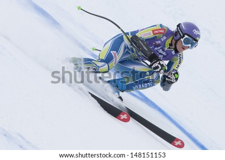 Val D\'Isere France. 19-12-2010. Tina Maze (Slo) During The Super Giant Slalom Section Of The Women\'S Super Combined Race At The Fis Alpine Skiing World Cup Val D\'Isere France.