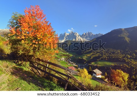 Val di Funes with odle in autumn. This beautiful valley is part of the Dolomite Alps in Italy.