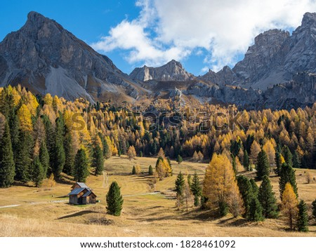 Val San Nicolo in Val di Fassa. Marmolada mountain range in the Dolomites of Trentino. Dolomites are part of the UNESCO World Heritage Site. Stok fotoğraf ©