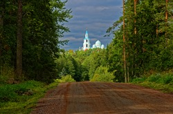 Valaam Monastery - Republic of Karelia.  Forest road leading to the church. Valaam island. Karelia. Russia