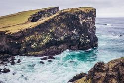 Valahnukur cliff located on the Atlantic Ocean shore on Reykjanes Peninsula in Iceland