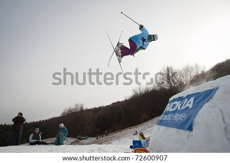 VALCA, SLOVAKIA - FEBRUARY 13: jump of  Juraj Bernat at Nokia Freestyle Tour 2011 February 13, 2011 in Valca, Slovakia