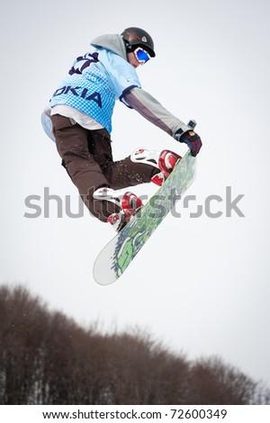 VALCA, SLOVAKIA - FEBRUARY 13: jump of  Marek Ondrejovic at Nokia Freestyle Tour 2011 February 13, 2011 in Valca, Slovakia