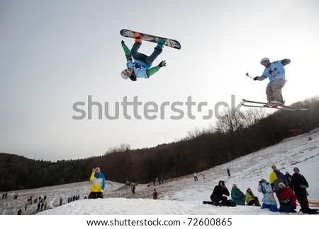 VALCA, SLOVAKIA - FEBRUARY 13: jump of  Matej Dolnik at Nokia Freestyle Tour 2011 February 13, 2011 in Valca, Slovakia