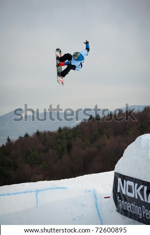 VALCA, SLOVAKIA - FEBRUARY 13: jump of  Matej Matys in final round of Nokia Freestyle Tour 2011 on February 13, 2011 in Valca, Slovakia