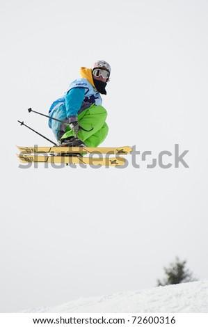 VALCA, SLOVAKIA - FEBRUARY 13: jump of Patrik Vozar at Nokia Freestyle Tour 2011 February 13, 2011 in Valca, Slovakia