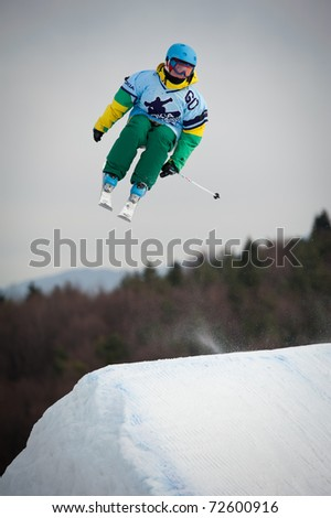 VALCA, SLOVAKIA - FEBRUARY 13: jump of  Petra Jureckova in final round of Nokia Freestyle Tour 2011 on February 13, 2011 in Valca, Slovakia