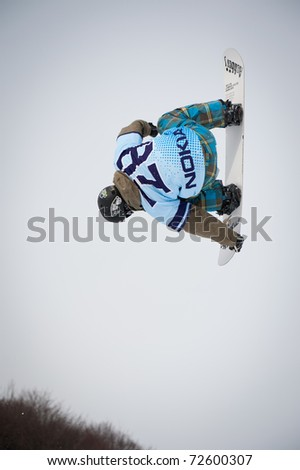 VALCA, SLOVAKIA - FEBRUARY 13: jump of  Radovan Dubovy at Nokia Freestyle Tour 2011 February 13, 2011 in Valca, Slovakia - stock photo