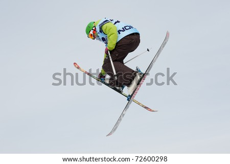 VALCA, SLOVAKIA - FEBRUARY 13: jump of  unknown competitor at Nokia Freestyle Tour 2011 February 13, 2011 in Valca, Slovakia