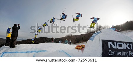 VALCA, SLOVAKIA - FEBRUARY 13: jump sequence of Viliam Tomo (SVK) at Nokia Freestyle Tour 2011 February 13, 2011 in Valca, Slovakia