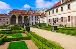 Valdstejnska Garden and Prague Castle in Prague, Czech Republic