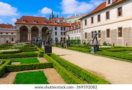 Valdstejnska Garden and Prague Castle in Prague, Czech Republic Stock photo ©
