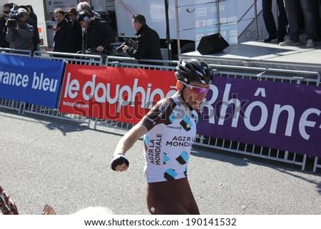VALENCE, FRANCE - MAR 02: Romain Bardet wins La Classic Drome UCI Europe Tour Pro Race on March 02, 2014 in Valence, Drome, France.  - stock photo
