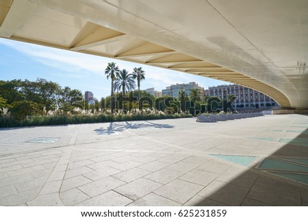 Valencia Alameda exposicion bridge on Turia river park low angle view at Spain