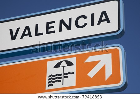 Valencia Beach Sign against Blue Sky Background