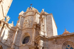 Valencia Cathedral facade , Catholic Church with Sculptures