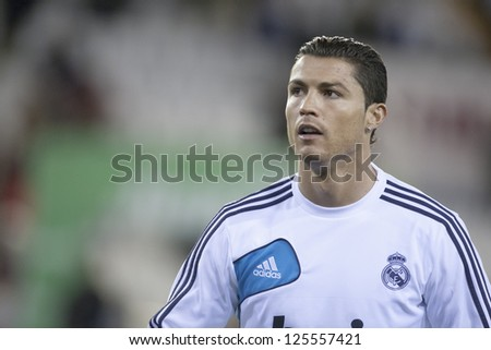 VALENCIA JANUARY 20 Cristiano Ronaldo during Spanish Soccer League match between Valencia CF and Real Madrid on January 20 2013 in Mestalla Stadium Valencia Spain