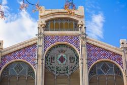 Valencia Mercado Central market facade in Spain