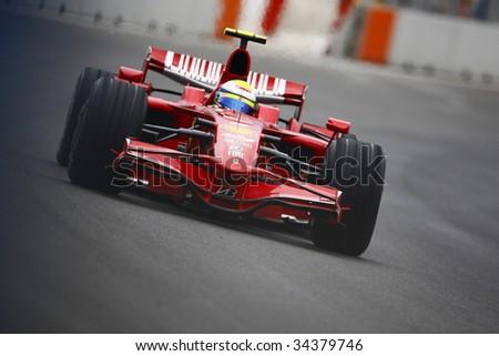 VALENCIA, SPAIN - AUGUST 23: Felipe Massa with Ferrari F1, pole position of Grand Prix of Europe in Valencia Street Circuit - on August 23, 2008 in Valencia, Spain