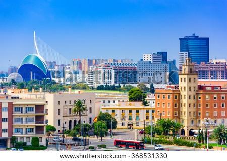 Valencia, Spain city skyline.
