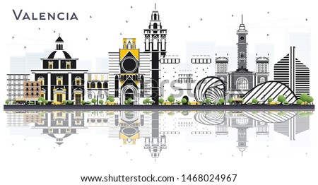 Valencia Spain City Skyline with Color Buildings and Reflections Isolated on White. Business Travel and Tourism Concept with Historic Architecture. Valencia Cityscape with Landmarks.