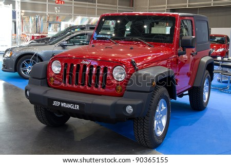 VALENCIA, SPAIN - DECEMBER 5: A 2011 Jeep Wrangler CRD on display at the 2011 Valencia Car Show on December 5, 2011 in Valencia, Spain.