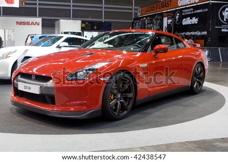 VALENCIA, SPAIN - DECEMBER 4: A 2009 Red Nissan GT-R Sports Car at the 2009 Valencia Car Show on December 4, 2009 in Valencia, Spain.