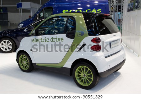 VALENCIA, SPAIN - DECEMBER 5: A 2012 Smart Electric Drive Micro Car on display at the 2011 Valencia Car Show on December 5, 2011 in Valencia, Spain.