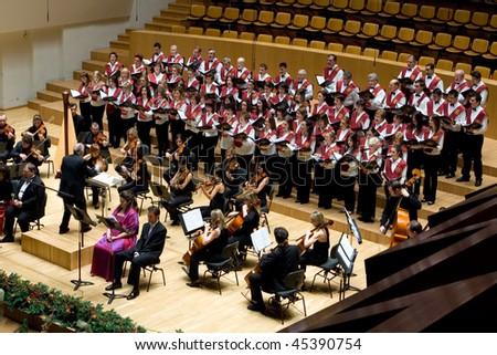 VALENCIA, SPAIN - DECEMBER 4: The choir of the University Catolica de Valencia performs at the Palau de la Musica concert hall on December 4, 2009 in Valencia, Spain.