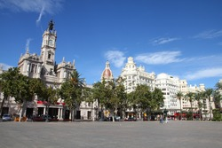 Valencia, Spain. Famous city square with Town Hall building.