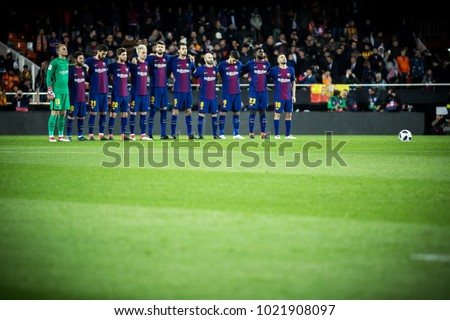 VALENCIA, SPAIN - FEBRUARY 8: Barcelona players during Spanish King Cup match between Valencia CF and FC Barcelona at Mestalla Stadium on February 8, 2018 in Valencia, Spain #1021908097