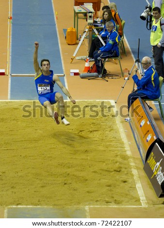 "VALENCIA, SPAIN - FEBRUARY 19: ""Eusebio Caceres"", Competitor of long jump Men of the spanish indoor national championships at Valencia on February 19, 2011 in Valencia, Spain"