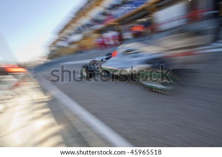 VALENCIA, SPAIN - FEBRUARY 3: F1 Test - Michael Schumacher - on February 3, 2010 in Cheste, Valencia, Spain