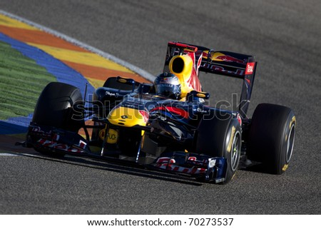 VALENCIA, SPAIN - FEBRUARY 1: F1 Winter Test - Vettel, Red Bull Team - on February 1, 2011 in Cheste, Valencia, Spain