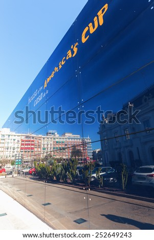 VALENCIA, SPAIN - FEBRUARY 08, 2014: house of the 32. Americas Cup that was held up in the year 2007. It is a trophy awarded to the winner of the America\'s Cup match races between two sailing yachts