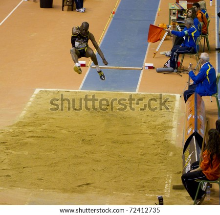 VALENCIA, SPAIN - FEBRUARY 19: Long jump competitor of long jump Men of the spanish indoor national championships at Valencia on February 19, 2011 in Valencia, Spain