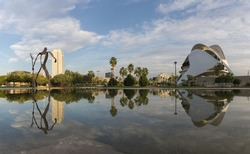 Valencia, Spain Gardens in the old dry riverbed of the Turia river - reflection in the water, Europe Gigapan