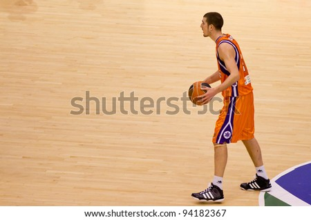 VALENCIA, SPAIN - JANUARY 28: Nando De Colo in action during the ACB league match between Valencia Basket  and Asefa Estudiantes, 85-71, on January 28, 2012, in Valencia, Spain