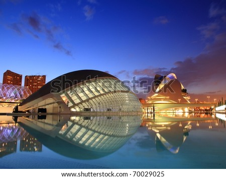 VALENCIA SPAIN JANUARY 28 Nightfall scenery of the Palace of Arts and l'Hemisferic Santiago Calatrava's architect famous buildings on January 28 2011 in Valencia Spain
