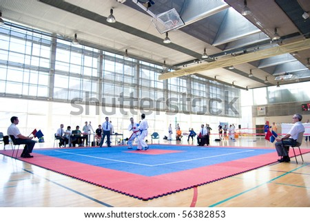 VALENCIA, SPAIN - JUNE 12: Contestants participate in the Karate Competition of the 2010 European Police and Fire Games (EUROPOLYB) on June 12, 2010 in Valencia, Spain.