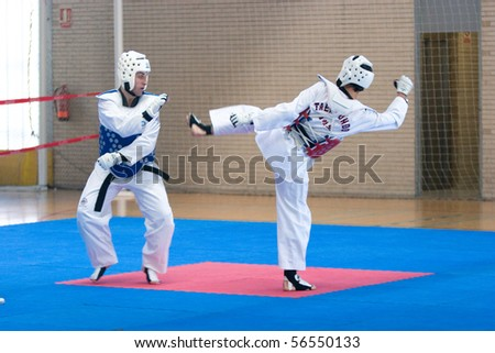 VALENCIA, SPAIN - JUNE 10: Contestants participate in the Taekwondo Competition of the 2010 European Police and Fire Games (EUROPOLYB) on June 10, 2010 in Valencia, Spain.