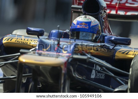 VALENCIA, SPAIN - JUNE 23: Daniel Ricciardo in the Formula 1 Grand Prix of Europe, Valencia Street Circuit. Spain on June 23, 2012 - stock photo
