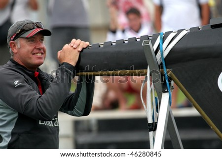 VALENCIA, SPAIN - JUNE 26: Emirates Team New Zealand's Grant Dalton in final match of 32nd America's Cup with Switzerland's Alinghi June 26, 2007, Valencia, Spain.